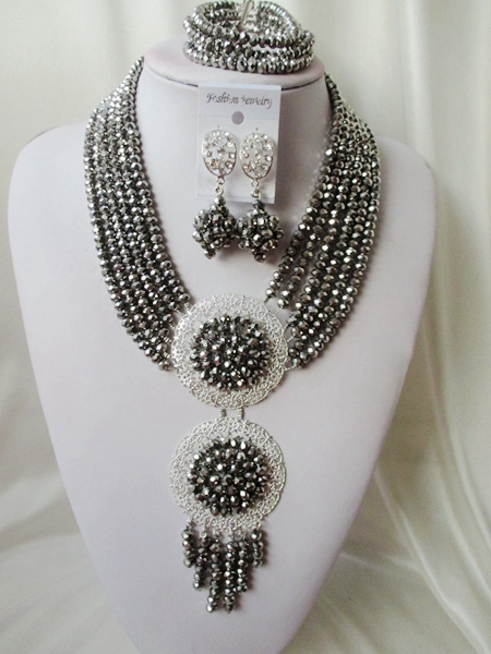 Luxury African beads jewelry set Silver Crystal beads bride jewelry nigerian wedding african beads jewelry Set MO-061
