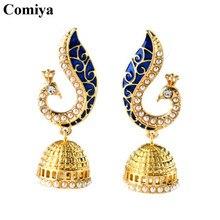 Comiya Gold Pearl Blue Peacock drop earrings for women mosaic brincos de festa indian jewelry pendientes largos joias Aliexpress
