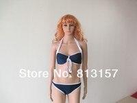 ml37024 синий и белый высокое качество женщины сексуальное росту хлопка-ватник пляж комплект бикини купальник