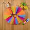 Newborn Photography Props Infant Pettiskirt Costume Outfit Princess Pink Rainbow Tutu Skirt + Headband Baby Photo Props Design