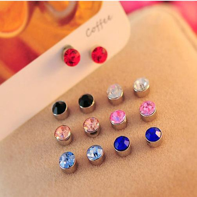 LASPERAL Colorful Rhinestone Round Magnetic Stud Earrings for Girls Women  Non Piercing Magnet Stud Earring 5mm d04330b1b6c4