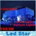 Alta Calidad 110 V/220-240 V 1000 LED 10x3 M luces de la Cortina Netas de Hadas de Cadena Ligera Lámpara de La Decoración Del Banquete de Boda de Navidad de navidad Al Aire Libre