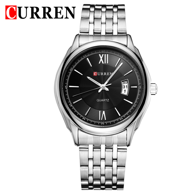 Selling Quartz Curren Black Dial 3 Atm Water Proof Mens Stainless Steel Back Quartz Watch Calendar With Gift Box 8092