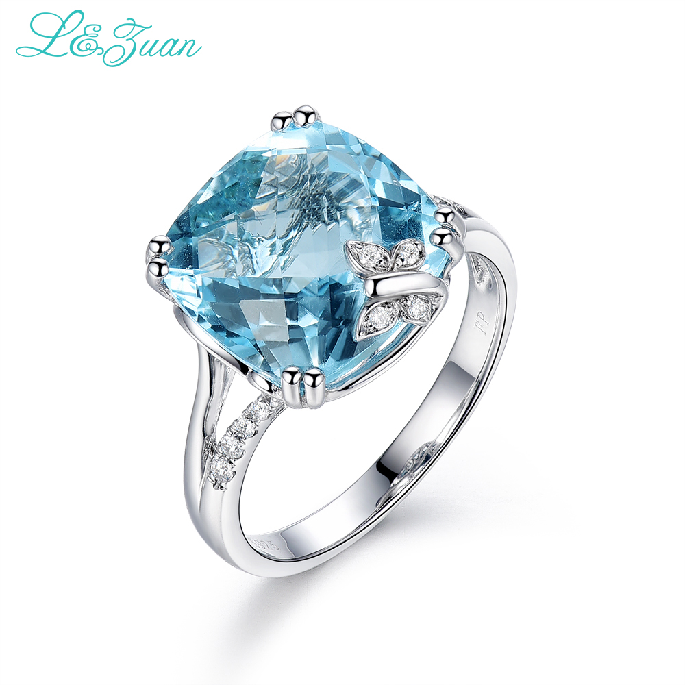 Natural Topaz Blue Stone Prong Setting Sterling Silver Jewelry Ring  Sterling Silver Ring Real Diamond Engagement Ring For Women