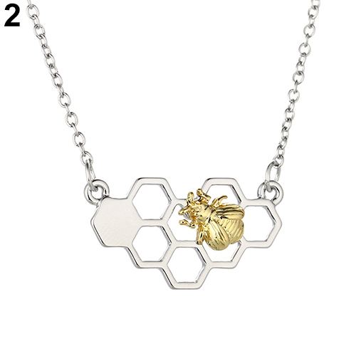 2017 women necklace heart goldsilver color honeycomb bee animal 2017 mozeypictures Images