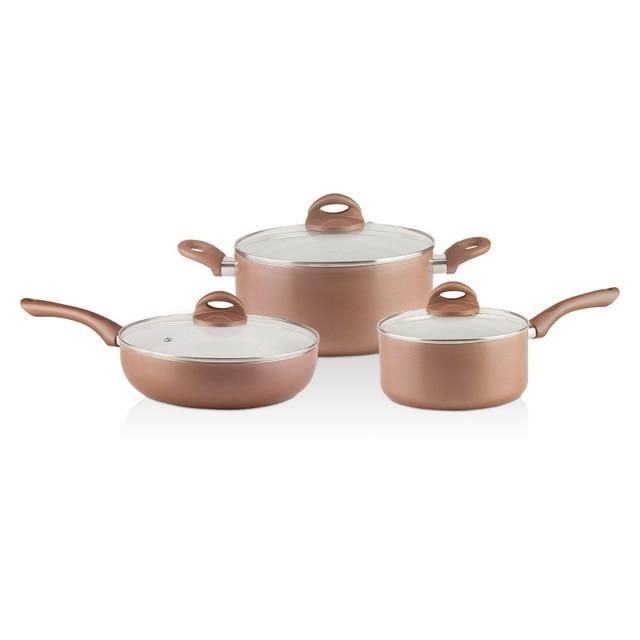 Набор посуды Galaxy GL 9507 (Керамическое покрытие Excilon, ковш с крышкой 2,9л, кастрюля с крышкой 5л, сковорода с крышкой 26см, подходит для всех типов плит)