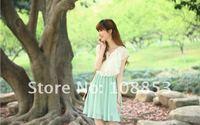 женщин Fun Cargo мА-зеленый тонкий рус рукава пожалуйста Крюгер шифон - cel платье мини clad бесплатная доставка 0075