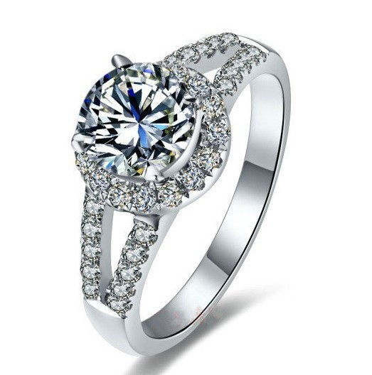 Гарантия качества! AU750 Муассанит роскошные украшения, кольцо 2Ct однотонные 750 Золотое обручальное кольцо синтетическое бриллиантами 750 из белого золота