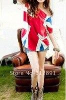свободного покроя мода флаг великобритании топ футболка m0276