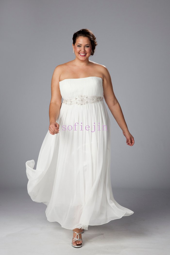 elegant chiffon ankle length casual beach wedding dresses 2012 plus ...