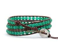 высокое качество зеленый нефрит 3х кожаный браслет из натуральной кожи манжеты браслеты полудрагоценных камней браслеты