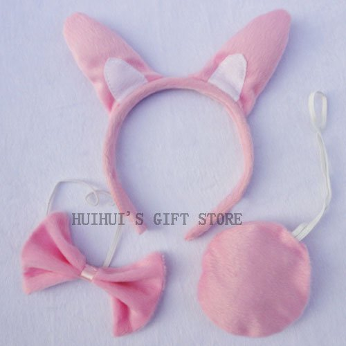 Хэллоуин косплей белый кролик уха повязка на голову галстук-бабочка хвост