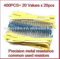 новый 400 шт. 1 / 4 вт 20 видов сопротивления металлические резисторы 1% точность, точность металла сопротивление часто используется