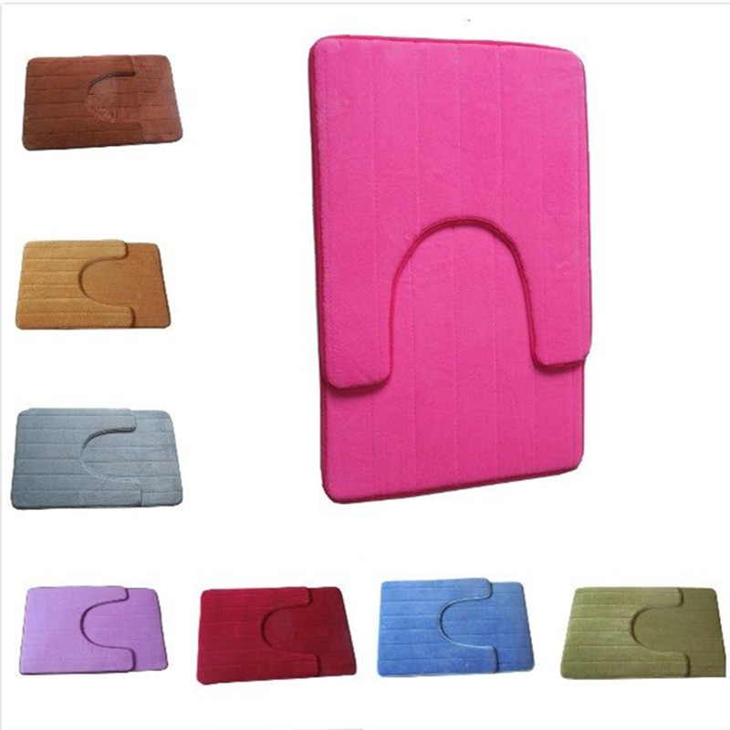 2pcs Set Non Slip U Shaped Pedestal Rug Bath Mat Memory Foam Doormat