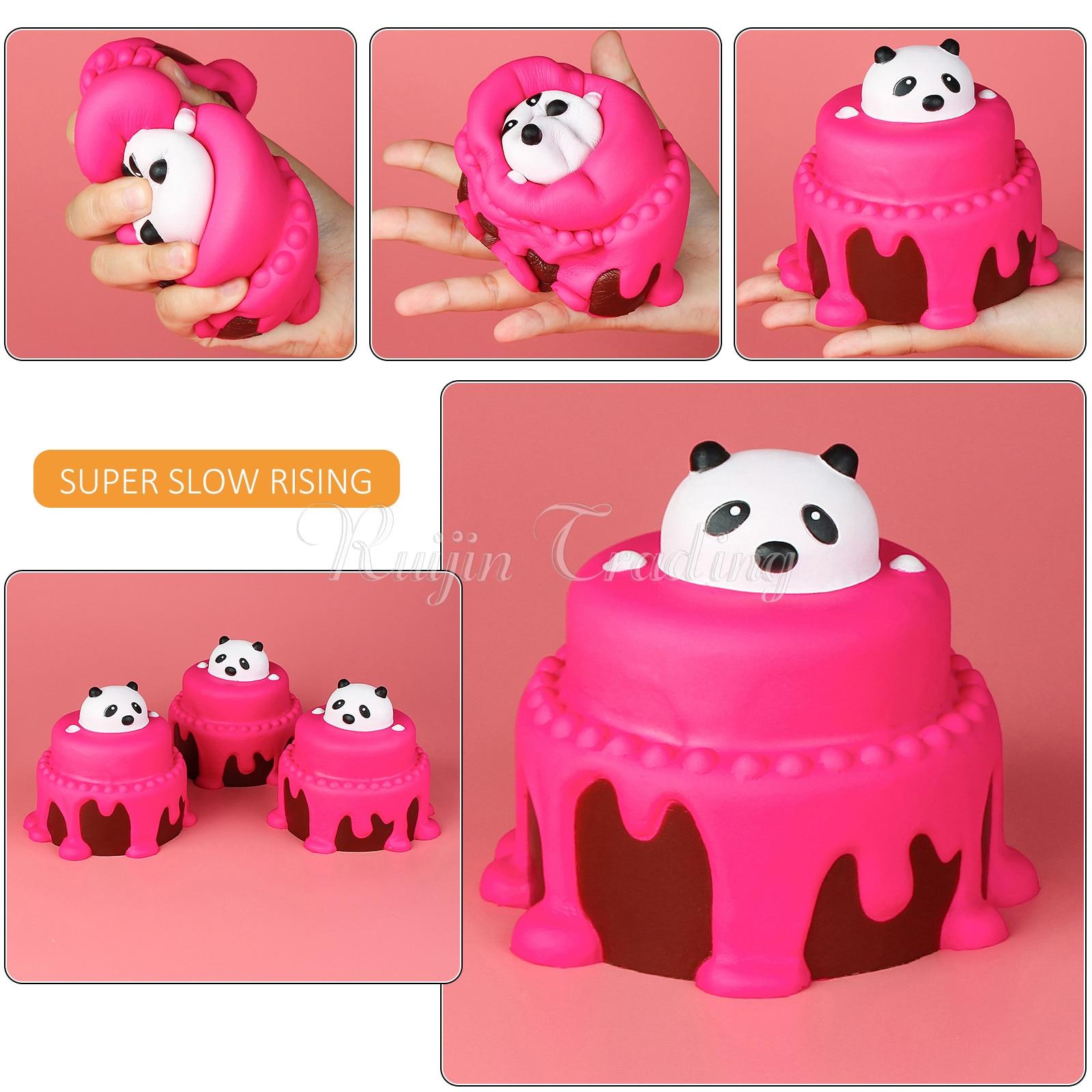 imágenes para Lento Aumento Blandita Jumbo Panda Pastel Lindo Teléfono Correas Reatil embalaje Crema Perfumada Cumpleaños Torta Kid Toy Squeeze Suave Diversión regalo