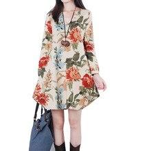 Women Vintage Floral Long Sleeve V Neck Casual Dress Pregnant Maternity Linen Dresses