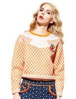 Elf SACK Smoke Spring Fashion Polka Dot Color Block Street Print Sweet Long Sleeve Sweatshirt Female