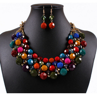 Fast Delivery Post New Arrival Multilayers Rhinestone Beads Fashion Jewelry Crystal Vintage Costume Earring Necklace Set