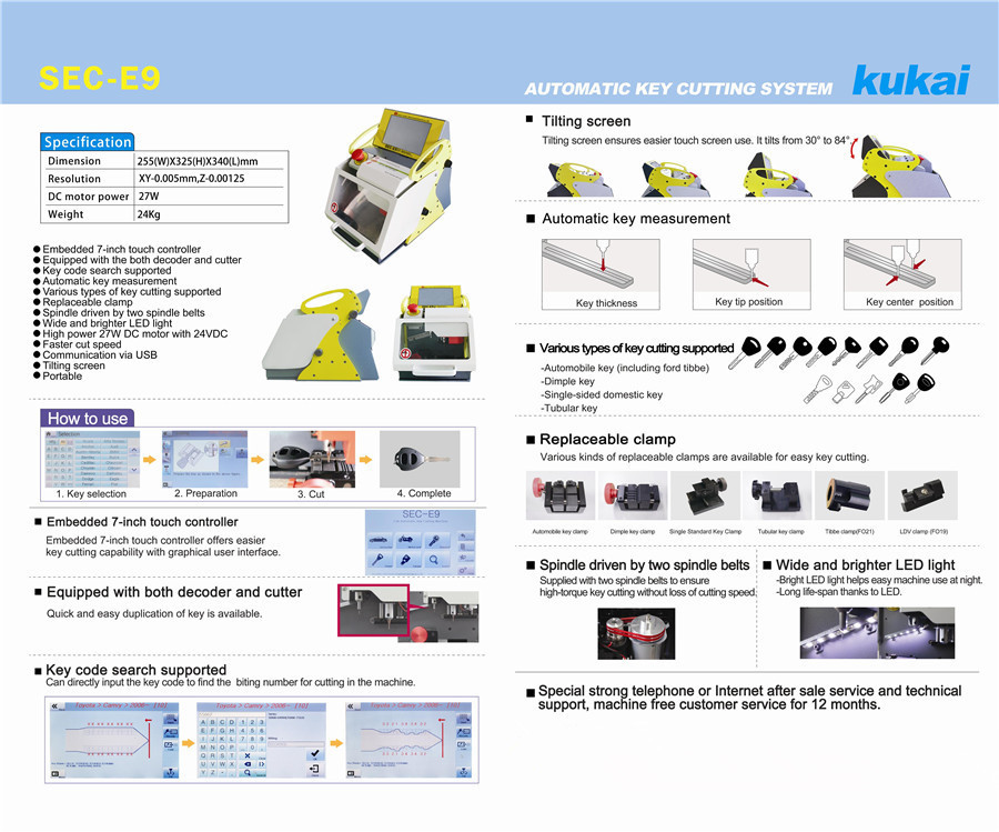 The Catalog of SEC-E9 key cutting machine