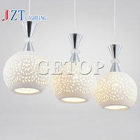 T Simple White Ceramic lamps Fashion Modern LED Ceiling light for dinning room bedroom study room coffee shop 3 light bulbs