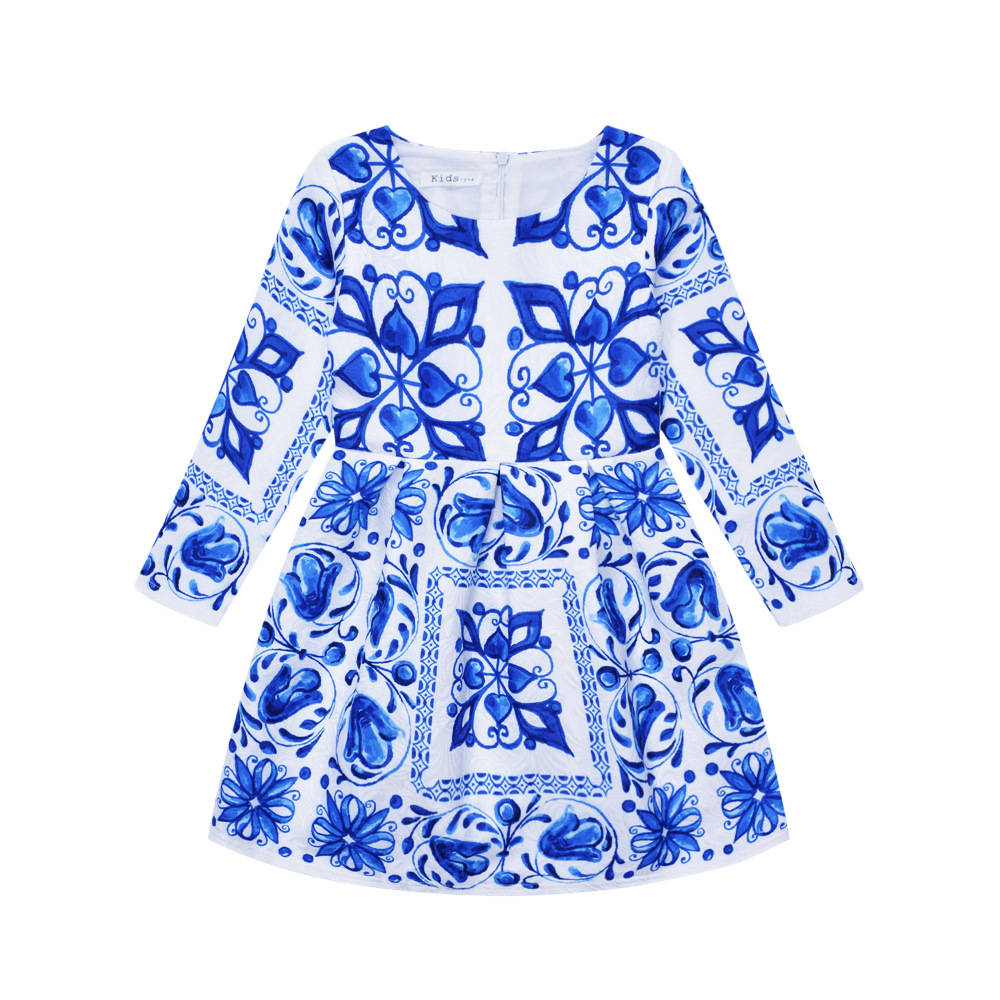 Flower Girl Dress Winter 2017 Toddler Children Clothing Brand Kids Clothes for Girls Long Sleeve Vintage Fashion Wedding Party 2015 winter clothes new high end brand children s clothing exquisite lace flower adornment waist thickened