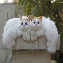 (2pieces/lot)White Color Blue Eyes Fur Covered Plastic Furry Realistic Cat