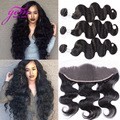 7A Body Wave Brazilian Virgin Hair With Lace Frontal Closure 4 Bundles Brazilian Body Wave With Lace Frontal Closure Ear to Ear