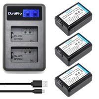 3Pcs 2000mAh NP FW50 NPFW50 NP FW50 Battery Batterie Bateria AKKU LCD USB Dual Charger For