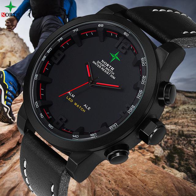 Men Sports Watch Analog Digital-watch LED Stainless Steel Waterproof  Wristwatch Quartz Wrist Military 2017 Men Watch Sport