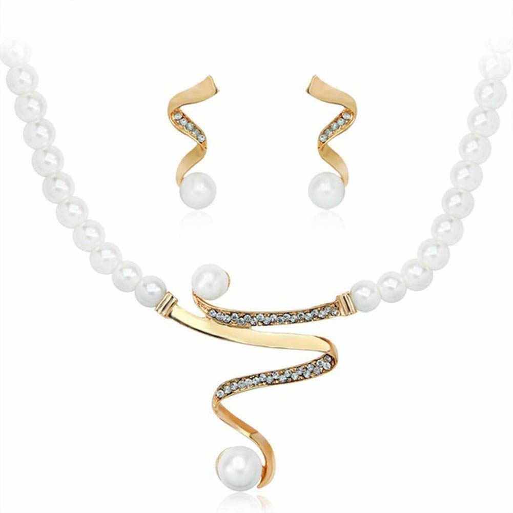 2017 новый Имитация Pearl Элегантные Свадебные Украшения Ожерелье Серьги Комплект Сделано с rhinestone партии подарки