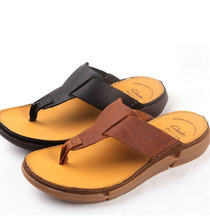 Summer 2016 European and American anti-skid slippers cowhide leather men's shoes cool Flip Flops