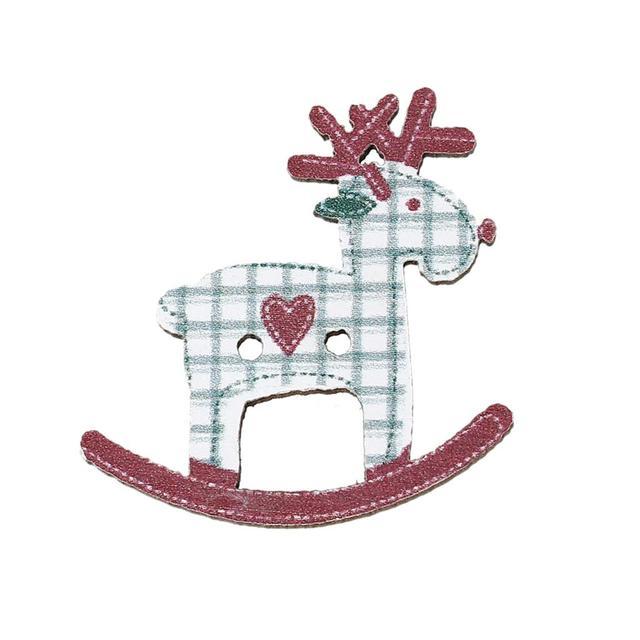 Doreenbeads madera Costura scrapbooking botón Navidad Reno rojo ...
