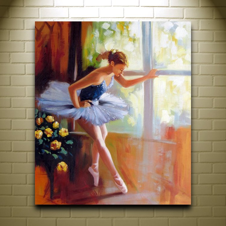 Handmade Women Oil Painting On Canvas Ballet Girl Arts And Crafts