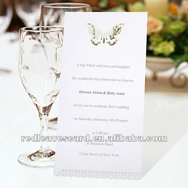 new arrival 300pcs laser butterfly wedding menu card and invitation