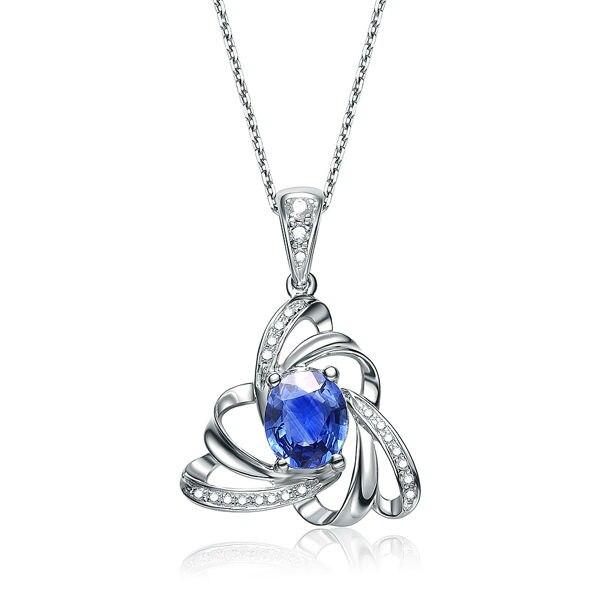 Уникальный любовь сапфир 18 К золото бриллиантовый камень кулон+ 925 стерлингового серебра цепи ожерелье ювелирные изделия Валентина