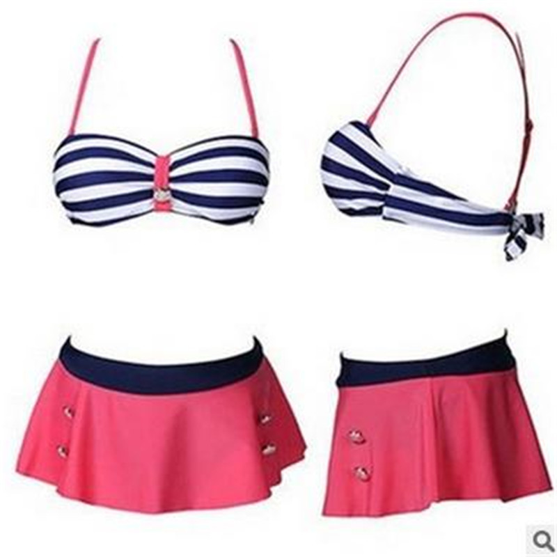 New 2016 Retro Striped Bikini Brazilian High Waist Swimsuit Women Sexy Push Up Swimwear Ladies Beach