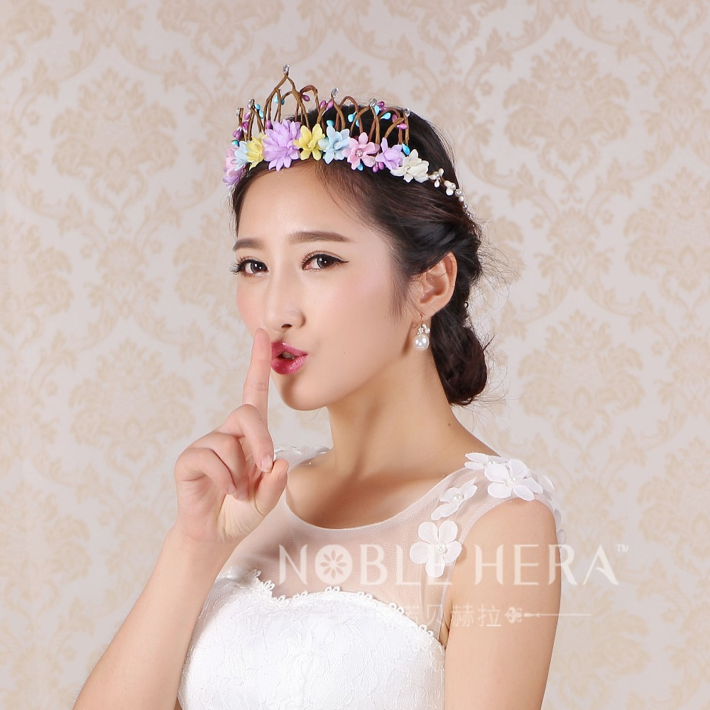 Beautiful Woman Head Wreath Flower Crown Floral Flower Garland Hair Wreaths Wedding Travel Photography 126E