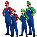 S-XL Дети Мальчики Взрослых Super Mario Bros Костюмы Косплей Хэллоуин Костюмы Disfraces Фантазия игра униформа Бесплатная доставка