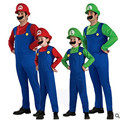 S-XL Kids Boys Adult Super Mario Bros Costumes Cosplay Halloween Costumes Fantasia Disfraces game uniforms Free shipping