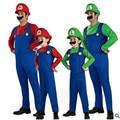 S-XL Kids Niños Super Mario Bros Adultos de Disfraces Cosplay Disfraces de Halloween Fantasia Disfraces uniformes del juego Envío gratis