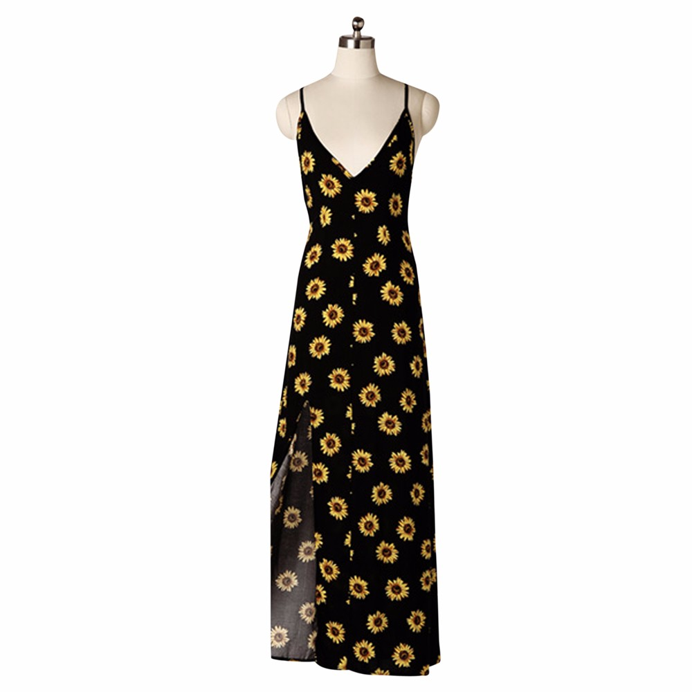 8bf65624350cb Summer Dress 2018 New Arrival Sunflower Print Long Dress Sexy V neck Maxi  Dresses Beach Female Vintage Dresses Vestidos -in Dresses from Women's  Clothing ...