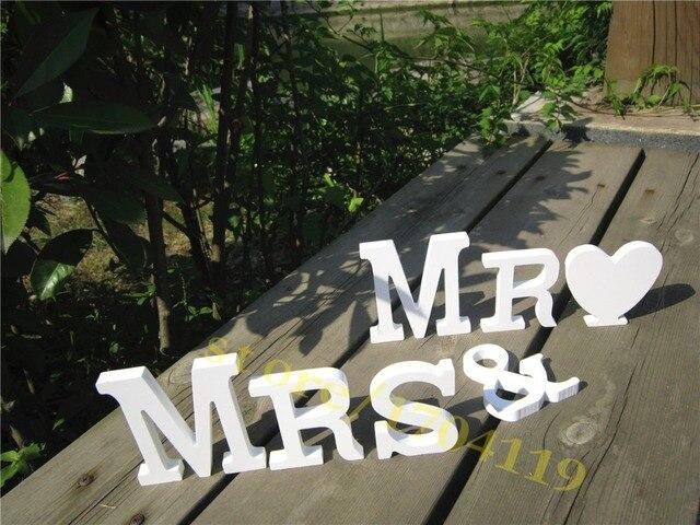 Standing White Mr Mrs Decorative Wooden Letter Mr Mrs Wedding