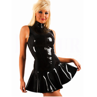 Night Club Girls Leather Dress With High Quality Girls Pvc Dress Leather Dress Tutu Skirt