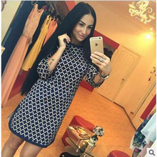 2017 fall and winter of foreign trade of the new printing Slim dress cross