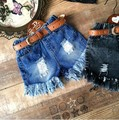 Wholesale Girls Denim Tassel Shorts Kids solid blue denim Holes Shorts 5PCS/ Lot