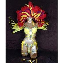 Бесплатная доставка, 2016 популярный сексуальный карнавальный костюм Самба Рио, комплект из желтого перьев