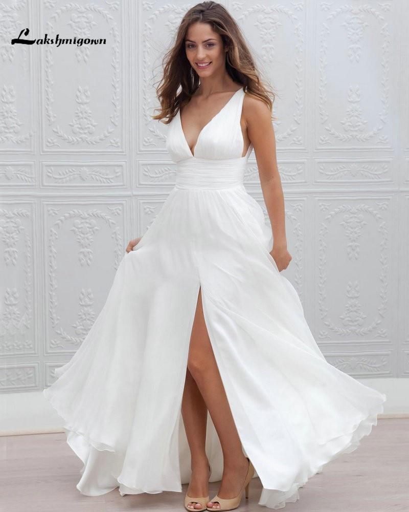 Sexy Deep V neck Bohemian Wedding Dresses Front Slit Simple Boho White Dress Chiffon Beach Honeymoon