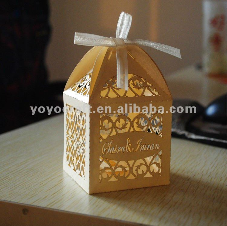laser cut OEM service indian 250G gold pearl paper favor traditional ...
