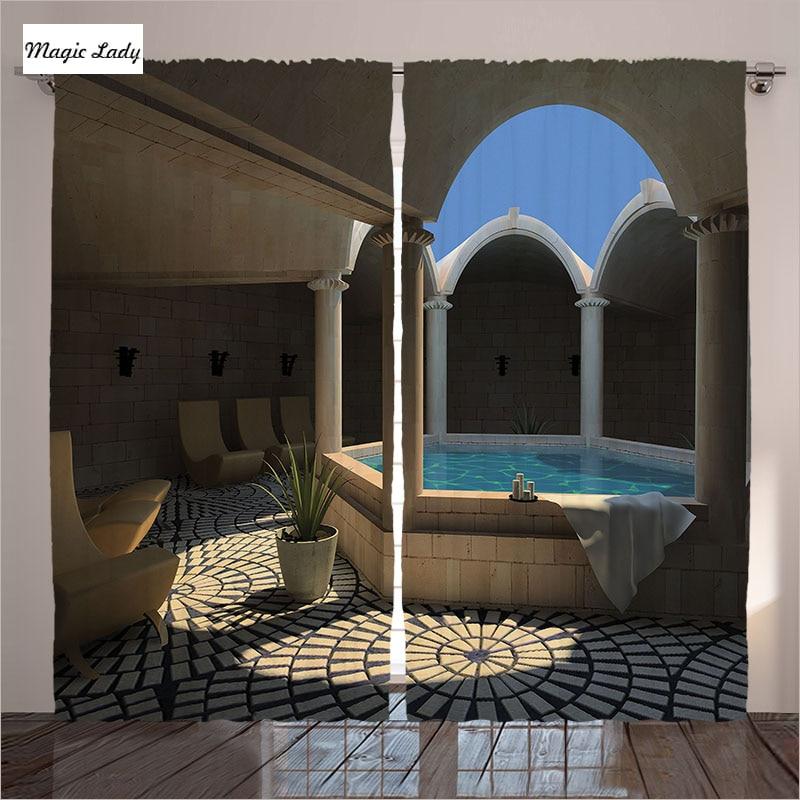 Spa Bedroom Decor: Hotel Curtains Living Room Bedroom Spa Bathtub Circle