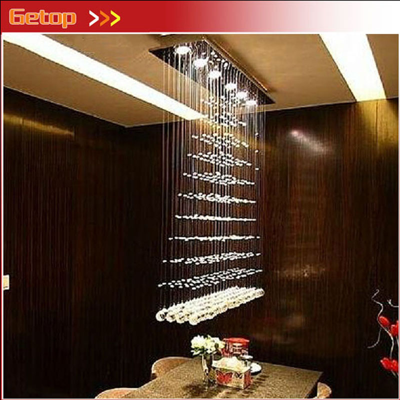 ZX Rectangle Crystal Pendant Lamp GU10 LED Curtain Chandelier Pyramid Hanging Wire Lighting Living Room Dining Room Foyer Lamp